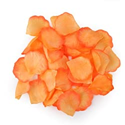 HDE 1000pcs Rose Petals Odorless Flower Petal Decorations for Weddings and Special Occasions (Orange)