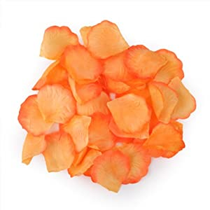 HDE 1000pcs Rose Petals Odorless Flower Petal Decorations for Weddings and Special Occasions (Orange) 119
