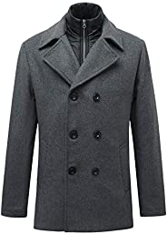 Men's Double-Breasted Wool Blend Peacoat Classic Notched Collar with Removable