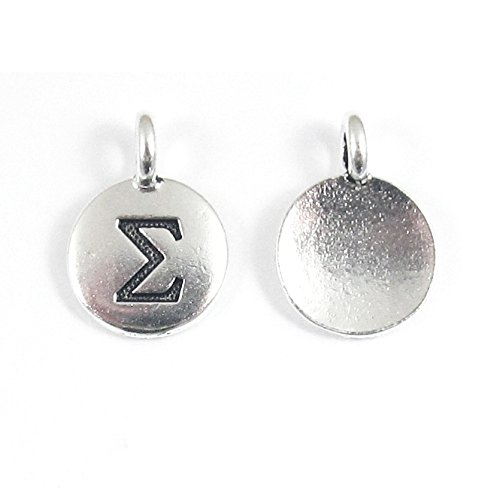 TierraCast Pewter Greek Letter Charms-SILVER ROUND SIGMA 12x16mm (2)