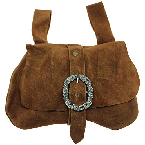 Genuine Brown Suede Medieval Style Kidney Hip Bag Renaissance Noble Belt Pouch