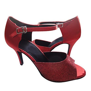 XIAMUO Angepasste Frauen Latin Dance Sandalen angepasste Heel Schuhe mehr Farben, Rot, Us5.5/EU36/UK3.5/CN 35