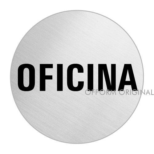 OFFORM Senal pictograma en acero inox - Oficina | Ø 75mm No.39