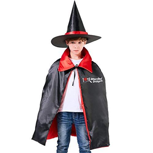 I Love My Bearded Dragon Halloween Costume Kids Wizard Witch Hat Cape Cloak Suit ()