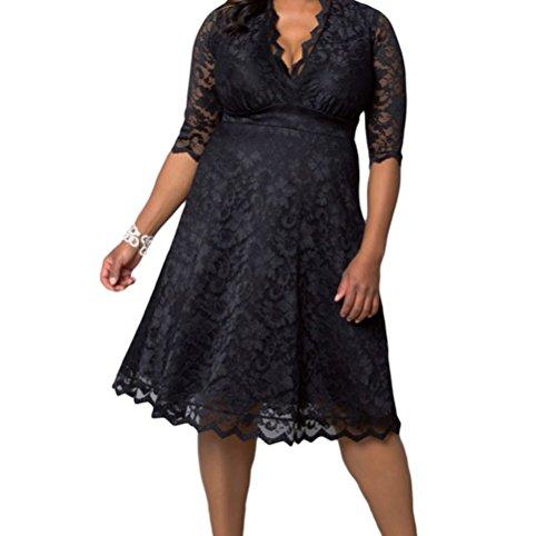YFFaye Women's Scalloped Trim Black Plus Size Lace Dress