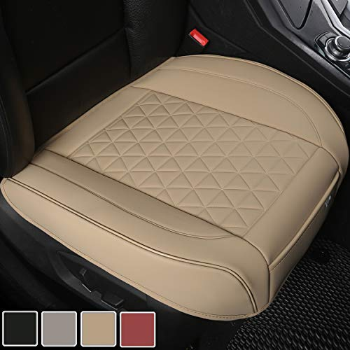 Black Panther Luxury PU Leather Car Seat Cover Protector for Front Seat Bottom,Compatible with 90% Vehicles (Sedan SUV Truck Van MPV), Triangle Quilting Design - 1 Piece,Beige (21.26×20.86 Inches)