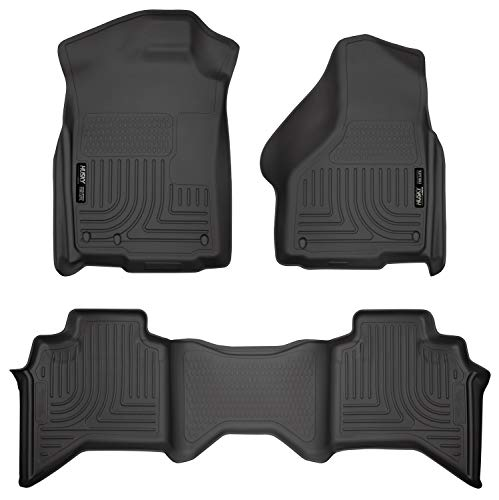 Husky Liners 99011 Black Weather Beater Front and 2nd Seat Floor Liners Fits 2009-2018 Dodge Ram 1500 Quad Cab, 2019 Dodge Ram 1500 Classic Quad Cab