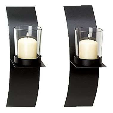 Adorox Black Lightweight Metal Wall Sconce Candle Holder Modern Minimalist Art Home Decor Plaque (Set of Two)