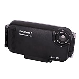 40m/130ft Underwater Camera Housing Photo Taking Waterproof Diving Protective Case Cover for Apple iPhone 7 Plus ,6 6s Plus (Black for iPhone 7)