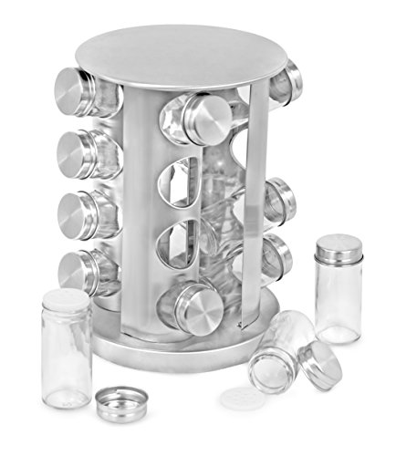 Internet's Best Revolving Spice Tower | Round Spice Rack | Set of 16 Spice Jars | Seasoning Storage Organization | Stainless Steel ()