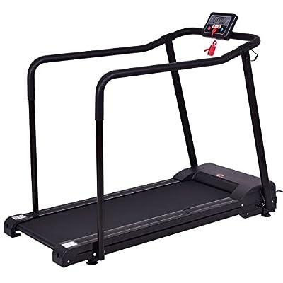 Goplus Electric Treadmill Walking Jogging Machine For Seniors Elders W/ Extra-long Handles