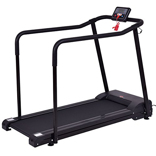 Goplus Electric Treadmill Walking Jogging Machine Seniors Elders 0.4-4 MPH Adjustable Speed W/Extra-Long Handles
