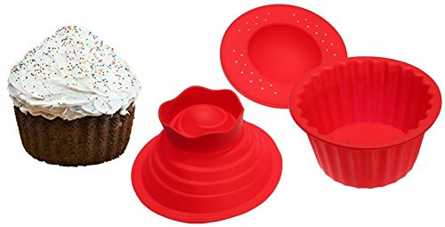 Jumbo Cupcakes Bake Set - 25x Bigger Than a Big Cupcake! - Also Includes Cupcake Recipe -