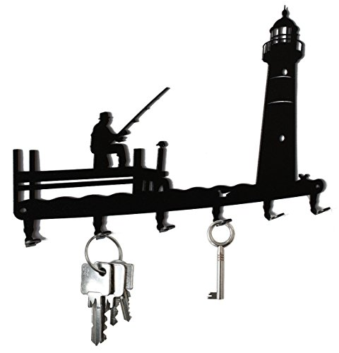 Angler and Lighthouse - Key Holder, Hooks, Hanger,