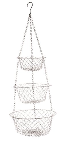 Fox Run 52101 Three Tier Hanging Wire Baskets, White (Copper Baskets Hanging)
