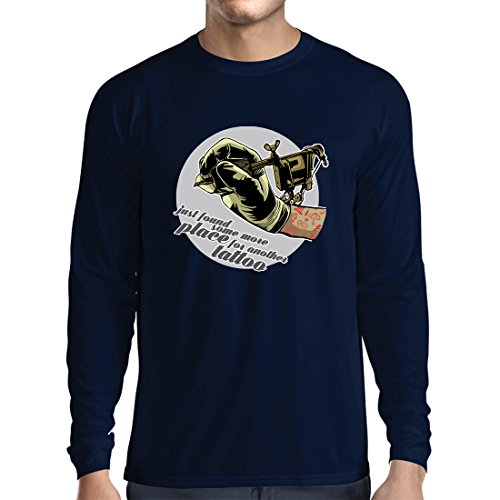 Long Sleeve t Shirt Men Aerograph-Tattoo Ink Machine, Every Inch is Tattooed, Cool Tips, Fan Clothing, Humor Gift Ideas (Medium Blue Multi Color)