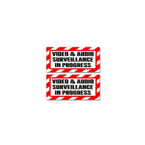 Graphics And More Video & Audio Surveillance In Progress Sign   Alert Warning   Set Of 2   Window Business Stickers