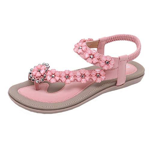 Tsmile Women Sandals Summer Boho Sweet Beaded Sandals Fashion Belt Buckle Hollow Out Clip Toe Sandals Beach Shoes