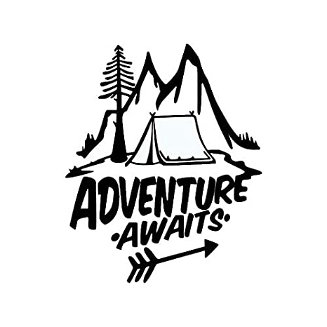 18cm Adventure Awaits Pine Tree Travel Mountains Stickers and Decals Car Styling Funny Sticker On Cars Car Stickers 3D 20.9 Color Name: Laser