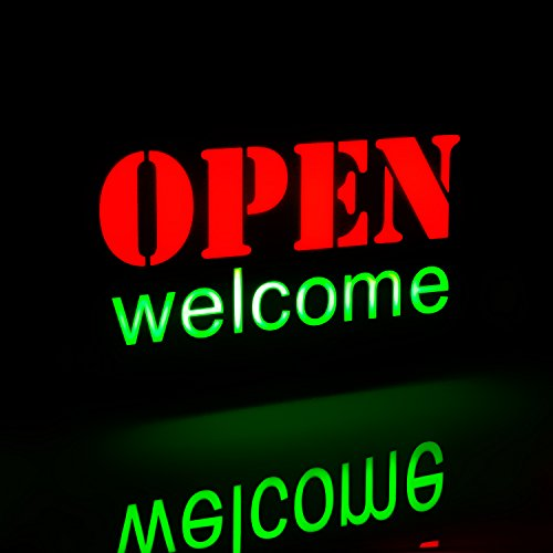 """ign Light, Neon Sign Open 16.9"""" x 9.1"""" Rectangle, On/Off Switch, Adjustable Lighting Mode, Highly Visible Bright Neon Style, Bar, Restaurant, Store, Salon, Gas Station ()"""