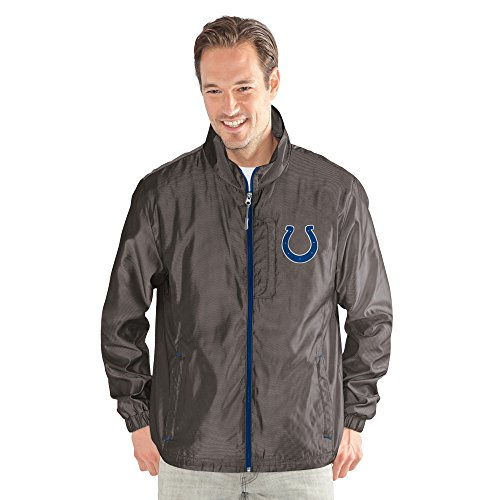 Football Jacket Nfl Zipper - G-III Sports NFL Indianapolis Colts The Executive Full Zip Jacket, X-Large, Charcoal Gray