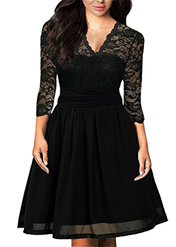 Sleeve V Womens Evening 4 Lace Party Black Cocktail Pleated Neck Dress 3 Mini DILANNI dXa5zwxqX