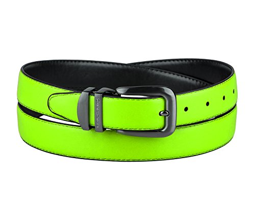 - CONCITOR Reversible Belt NEON Lime GREEN Black Bonded Leather Pewter-Tone Bkl 36