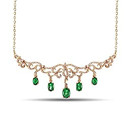 Yellow Gold With Emerald Diamond Pendant Necklace