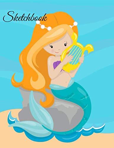 Sketchbook: A Cute Auburn Hair Mermaid Princess Theme Large 8.5