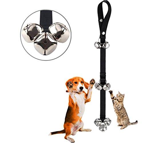 Pet Doorbells Premium Quality Training Potty, Knocking door, Calling, Dog Cat Bells Adjustable Door Bell, for Potty Training, Easy Train, 7 Bells Upgrade ver, by Yamissi (Black)