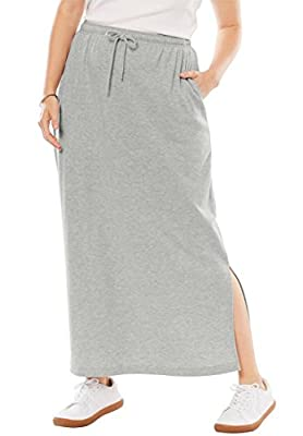 Woman Within Plus Size Petite Sport Knit Side-Slit Skirt
