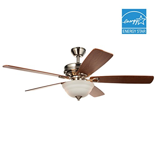 Hyperikon Indoor Ceiling Fan with Remote Control, 52-Inch Brushed Nickel Ceiling Fan, Five Reversible Blades and Frosted Dome Light - Bulb Not Included by Hyperikon