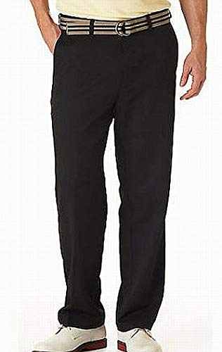 Haggar Men's Cool 18 Hidden Comfort Waist Plain Front Pant,Black,40x30