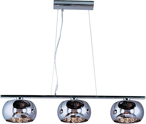 ET2 E21204-10PC Sense 3-Light Linear Pendant, Polished Chrome Finish, Mirror Chrome Glass, G9 Xenon Bulb, 1.5W Max., Dry Safety Rated, 2900K Color Temp., Low-Voltage Dimmable, Glass Shade Material, 9750 Rated Lumens by ET2 Lighting