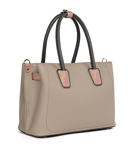 Elizabeth George Damen Handtasche 792-7 Grau - Rosa Damentasche Henkeltasche Tragetasche Schultertasche Shopper Umhängetasche