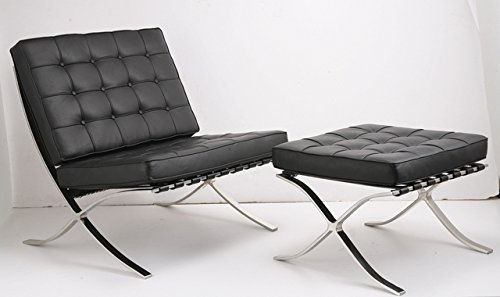 Barcelona Leather Ottoman (ArtisDecor Premium Lounge Chair and Ottoman Made with Top Grain Italian Leather - Black)