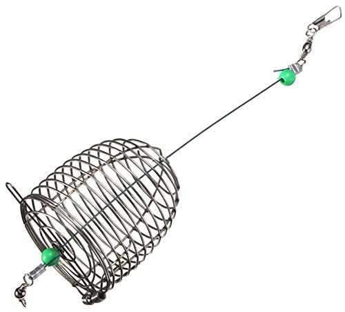 Taloyer Stainless Steel Wire Fishing Bait Lure Cage Trap Basket Feeder Holder (L)