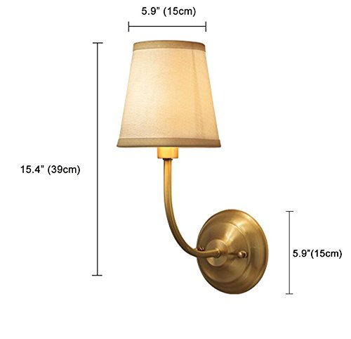 NOXARTE Brass Body Wall Mounted Light Industrial Vintage Style Fabric Lampshade Wall Sconce Wall Lamp Lighting Fixture for Bedroom Hallway Living Room W5.9 x H15.4 by NOXARTE (Image #6)