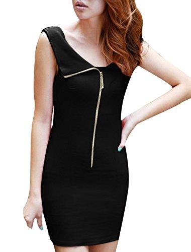 Damen schulterfrei mit Reißverschluss vorne ärmellos Mini Dress ...