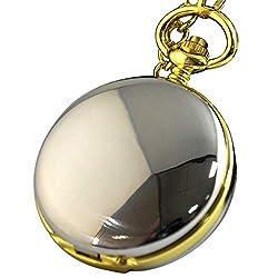 jklek Black Alloy Vintage Anti Pocket Watch Double Mechanical Skeleton Pocket Watch Chain Gold and Silver