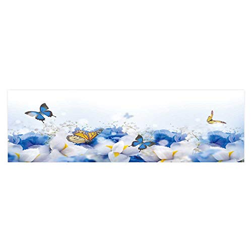 Dragonhome Background Fish Tank Decorations amaz Butterfly Fairy of Flowers Hydrangeas and iris Fish Tank Wallpaper Sticker L23.6 x H15.7 ()