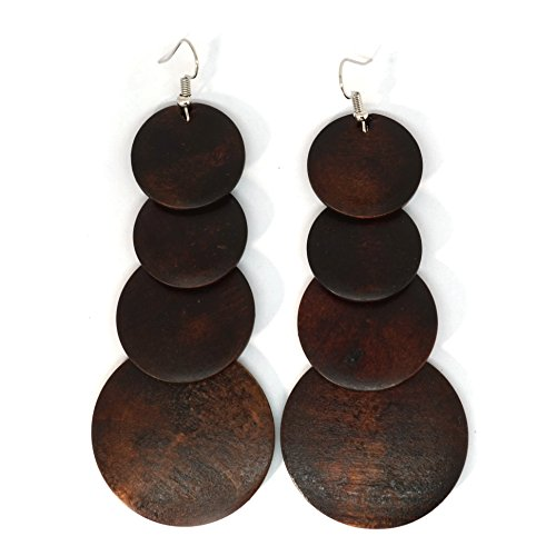 Teri's Boutique Wood Wooden Jamaican Boho Hippie Long Dangle Rounds Earrings (Dark (Wooden Fashion Earrings)
