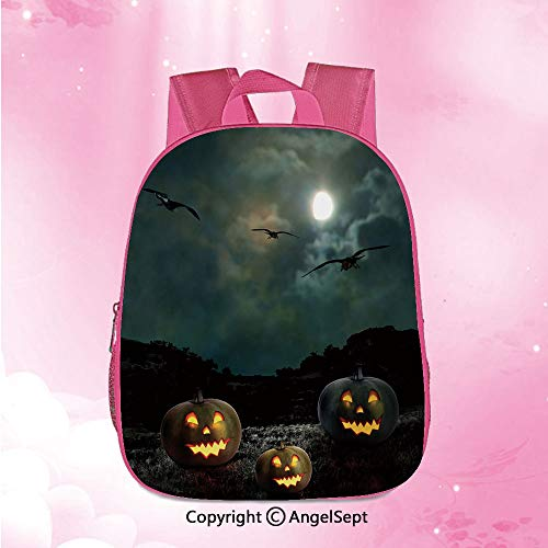 Pattern customization School Backpack,Yard of an Old House at Night Majestic Moon Sky Creepy Dark Evil Face Pumpkins DecorativeMulticolor12.6inches,Backpack for Boys and Girls Customized Adjustable - Garbage Cymbal