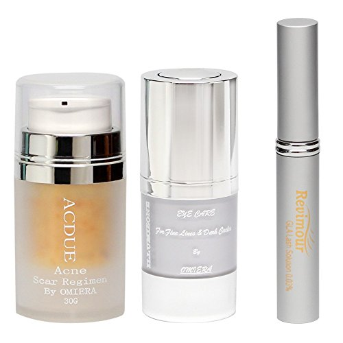 Omiera Acdue Acne Scars, Under Eye Cream, and Eyelash Growth Serum (pack of 3)