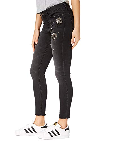 Indigo Rein Womens Juniors More is More Embellished Skinny Ankle Jeans Black ()