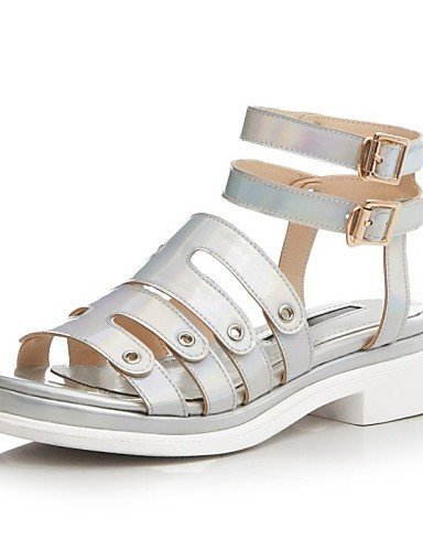 ShangYi Slingback Damens's Schuhes Leder Flat Heel Slingback ShangYi / Gladiator Sandales Outdoor / Casual Weiß / Silver(Genuine Leder) Silver 3f6d4d