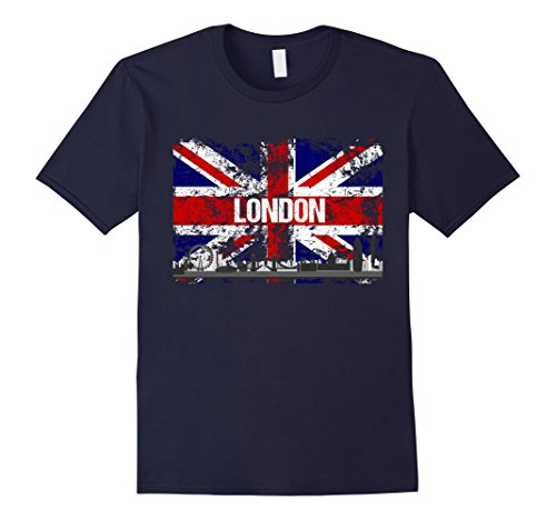 Mens London Skyline Vintage Look Union Flag T-Shirt Medium Navy