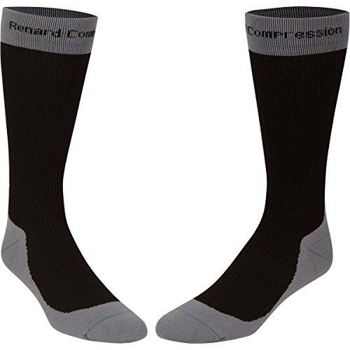 Renard Compression Unisex 20-30mm Socks, Black/Gray