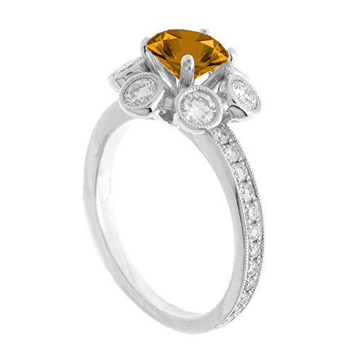 Citrine Tdw Diamond Ring - 14K White Gold 7/8ct TDW Floral Diamond Engagement Ring With 3/4ct Citrine Round Center (G, SI1-VS2)