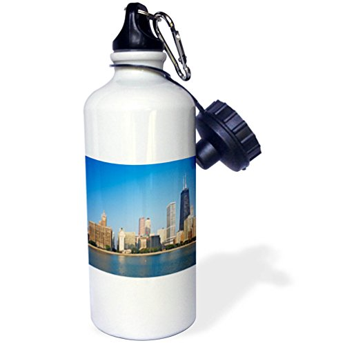 3dRose Danita Delimont - Illinois - USA, Illinois, Chicago. Skyline seen from Lake Michigan. - 21 oz Sports Water Bottle (wb_278976_1) by 3dRose